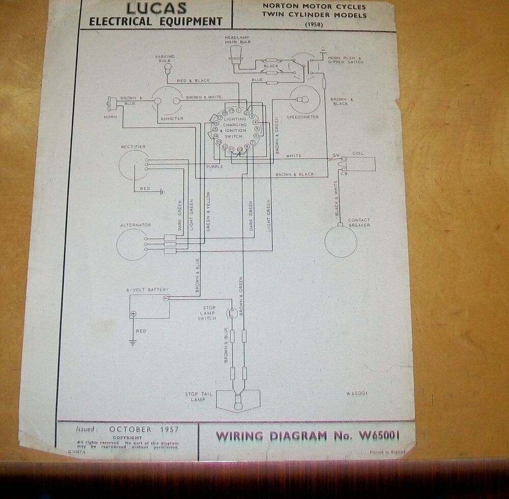 details about norton twin cylinder motor cycles 1958 lucas wiring diagram  oct 1957