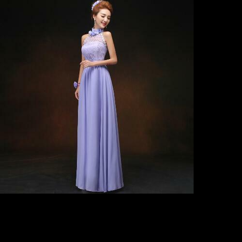 879d102ccf3 Details about HALTER NECK LACE   CHIFFON LAVENDER CORSET STYLE BACK WEDDING    PARTY DRESS