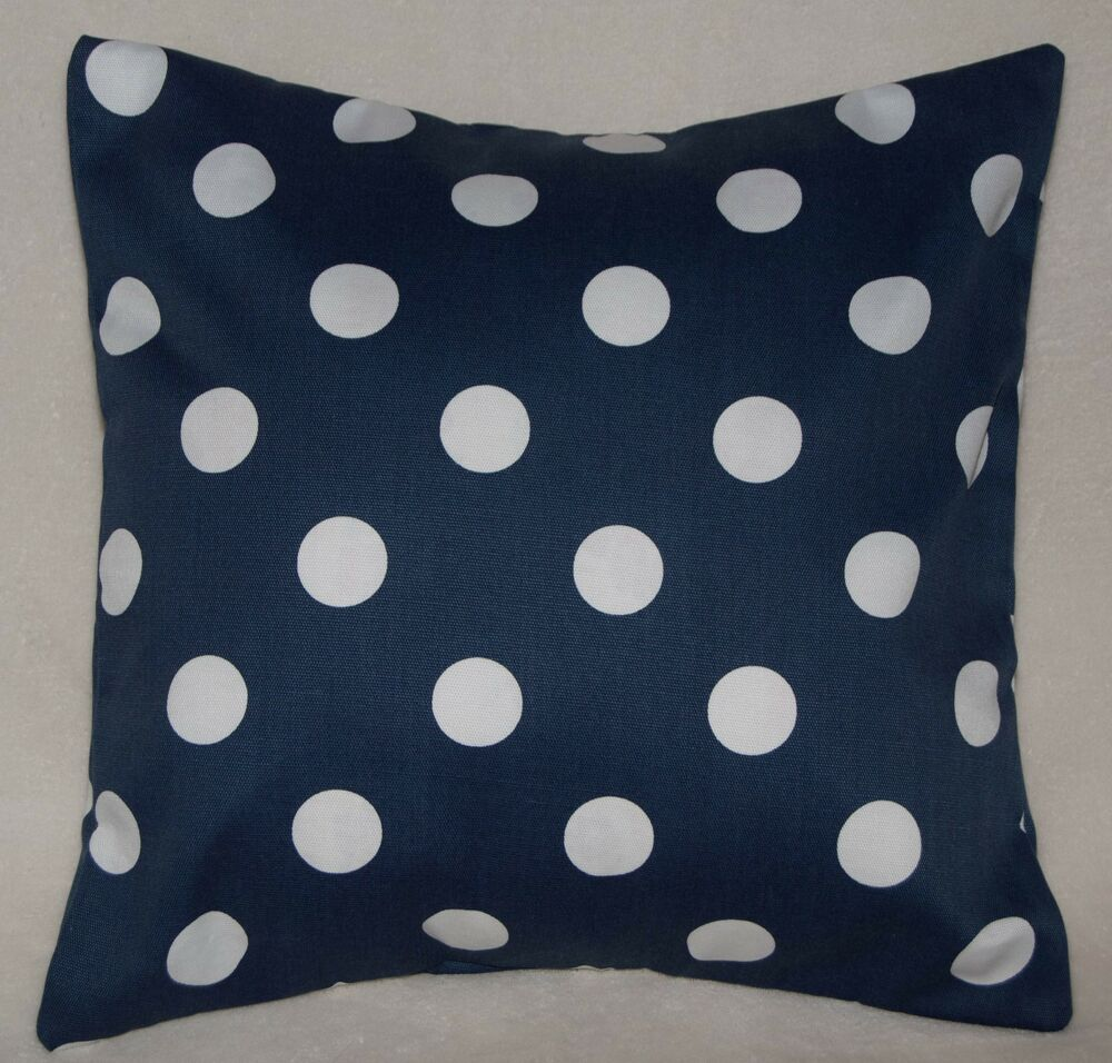 16x16 100 Poly Outdoor Pillow Cover Trio Blue W White Polka Dots