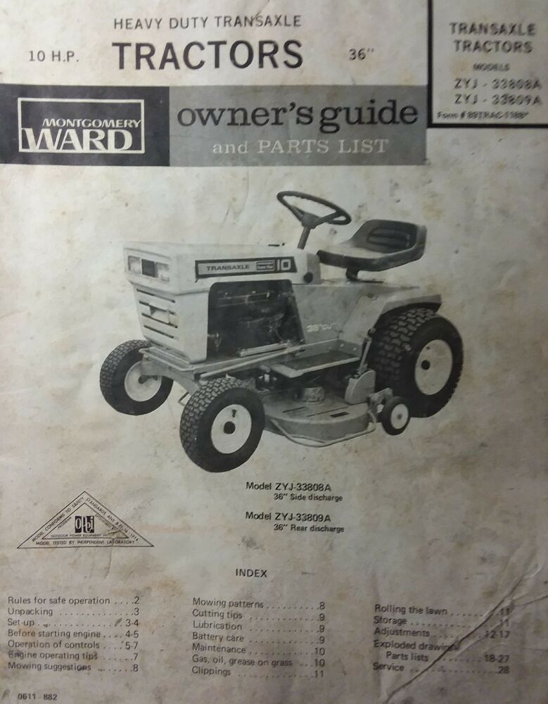 Montgomery Ward Garden 10 Hp Riding Lawn Tractor Owner