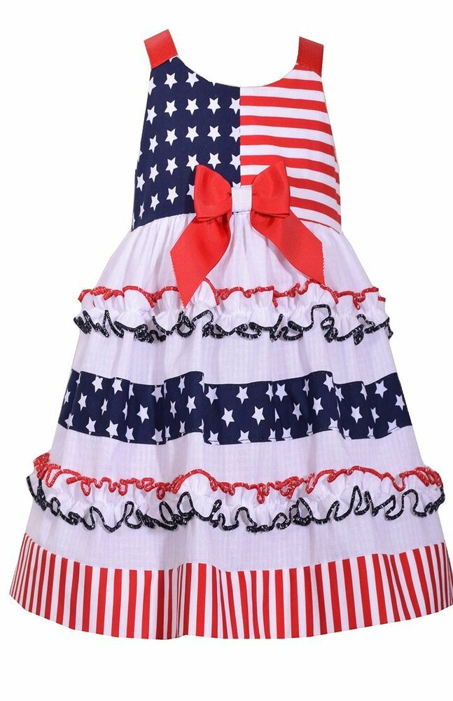 caf64e5e5 Details about Bonnie Jean Little Girls 2T-6X Tiered Patriotic Dress- Kids  July 4th Party Dress