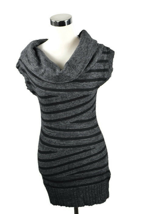 f29fed8e6e8 Details about Guess Wool Blend Fall Mini Dress Short Sleeve Gray Sweater  Dress Turtleneck S