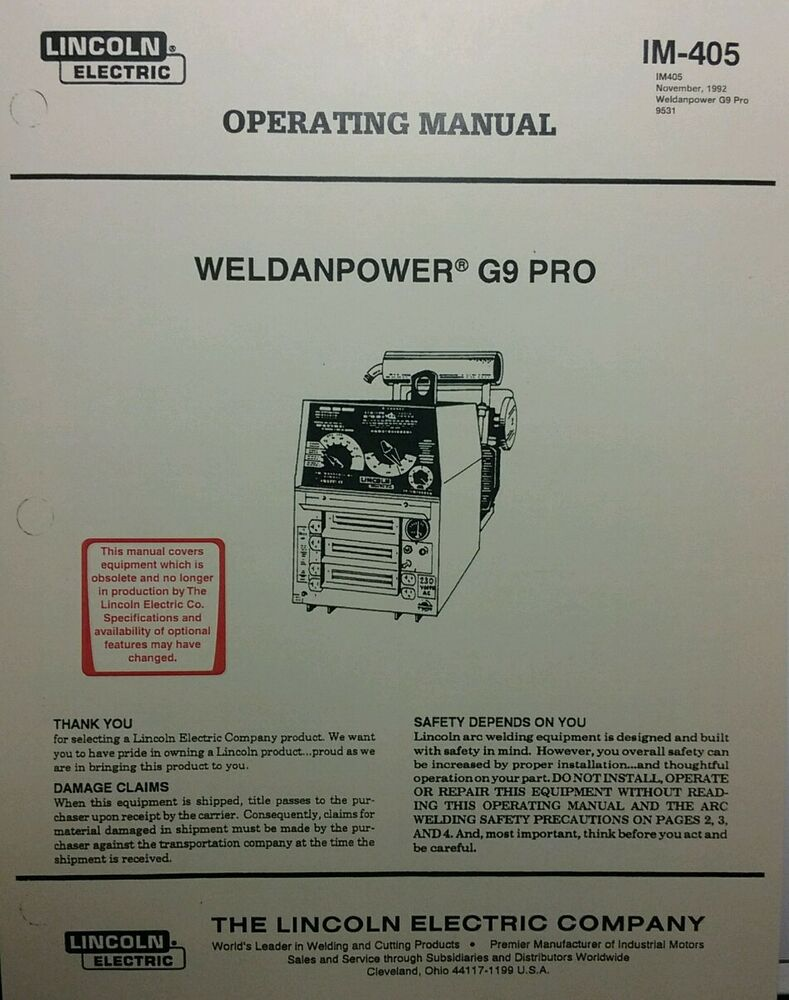 Lincoln Weldanpower G9 PRO 250 Welder & Onan Eng Operating & Service on lincoln welding helmets, lincoln mig welders, lincoln 225 welding machine, lincoln sp 150 welder,