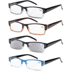 4-pack Spring Hinges Rectangular Reading Glasses Includes Sun Readers +.75