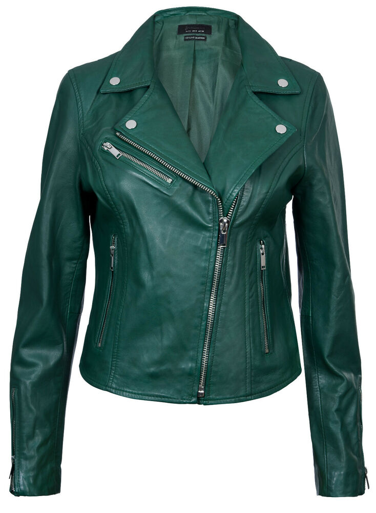 78d899daf72f Details about Ladies Leather Jacket Classic Biker Style Green Real Leather  Womens Jacket