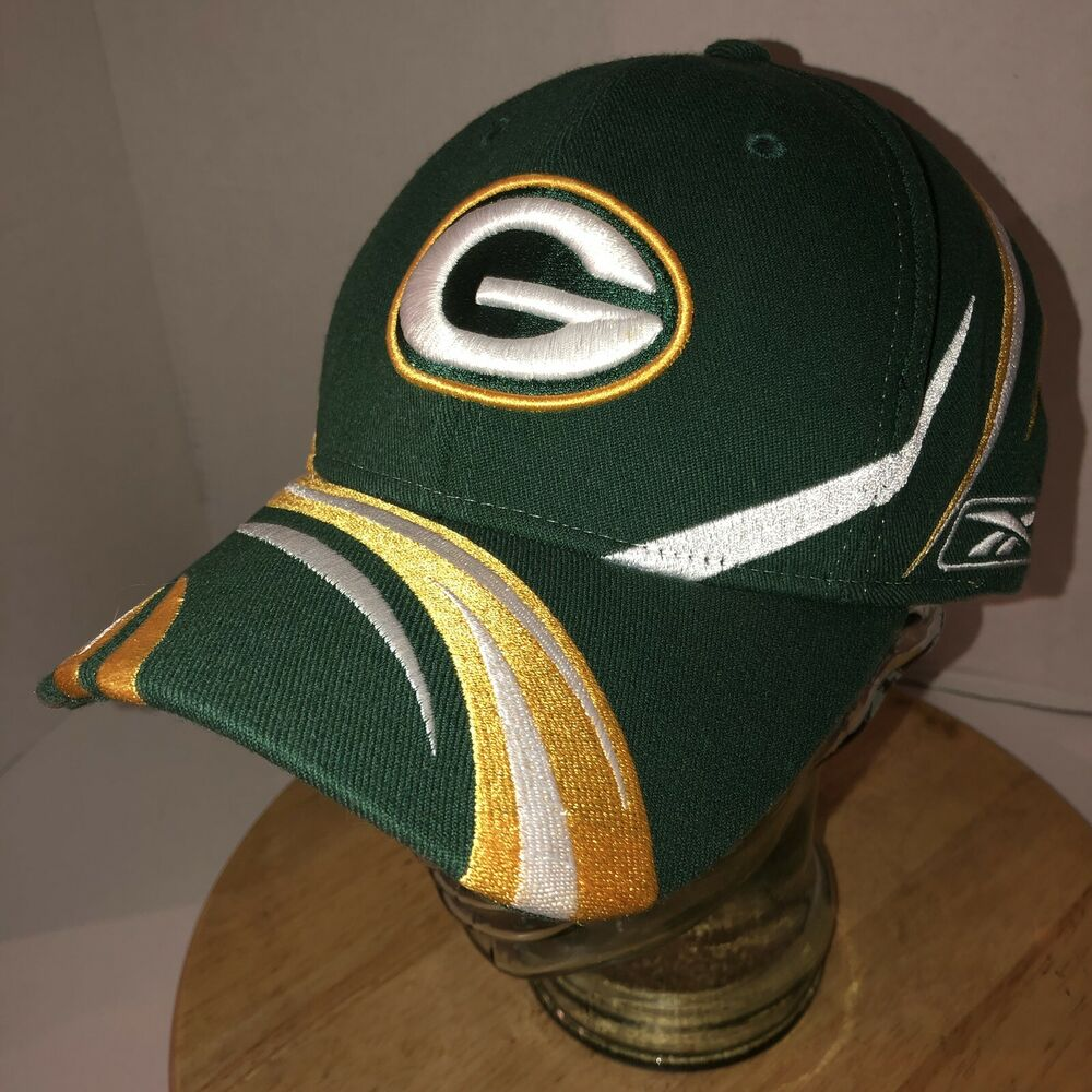 316b1eec360a87 Details about GREEN BAY PACKERS Reebok NFL Equipment Hat Cap Size L XL All  Over Stripes Lines