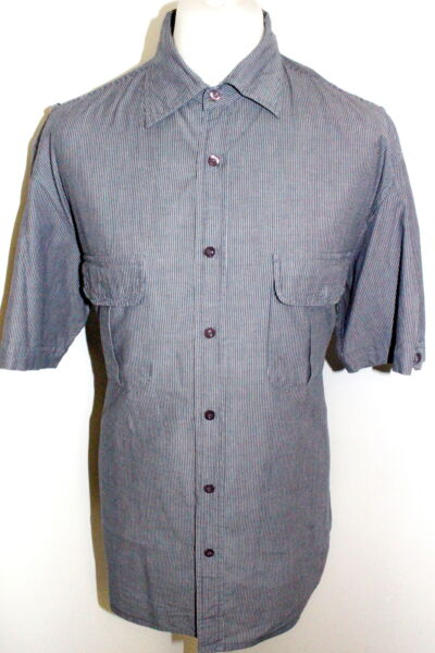 DEHAVILLAND Mens Grey Striped Short Sleeved Shirt Size XL