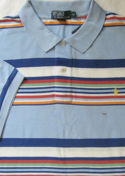 Neuf Polo Ralph Lauren Bleu Multi Couleur Rayé Coton Maille Polo / Big 2X