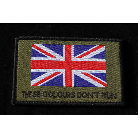 img-British Army - These Colours Don't Run + Union Flag Velcro Morale Patch No707a