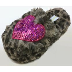 Capelli NY Girl's Leopard Print Pink Heart Slippers Slip On Size 10-11 Toddler