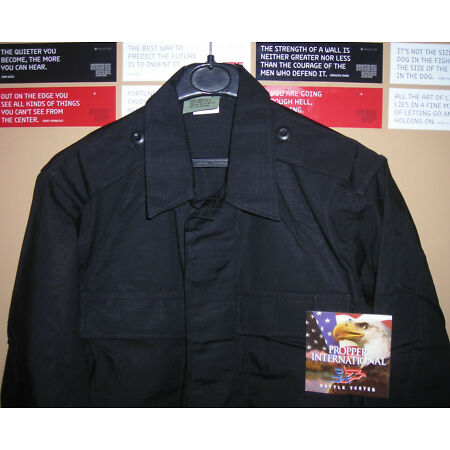 img-GENUINE US PROPPER COAT COMBAT 2 POCKETS EPAULETS L/S RIP STOP BLACK NEW !!!
