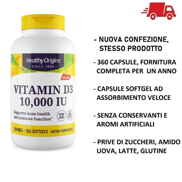 Healthy Origins Vitamina D-3 D3 10000 IU 10,000iu 360 softgels  VITAMINE Capsule