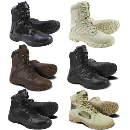 img-ARMY TACTICAL PRO BOOTS SIDE ZIP MENS UK 6-12 BLACK LEATHER 1/2 LEATHER FOOTWEAR