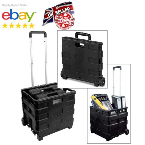 Wheeled Storage Box Cart Large Folding Trolley Foldable Rolling Travel Crate UK