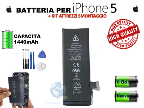 BATTERIA BATTERY APPLE IPHONE 5 5G CAPACITA' ORIGINALE APN 616-0613 1440 MAH