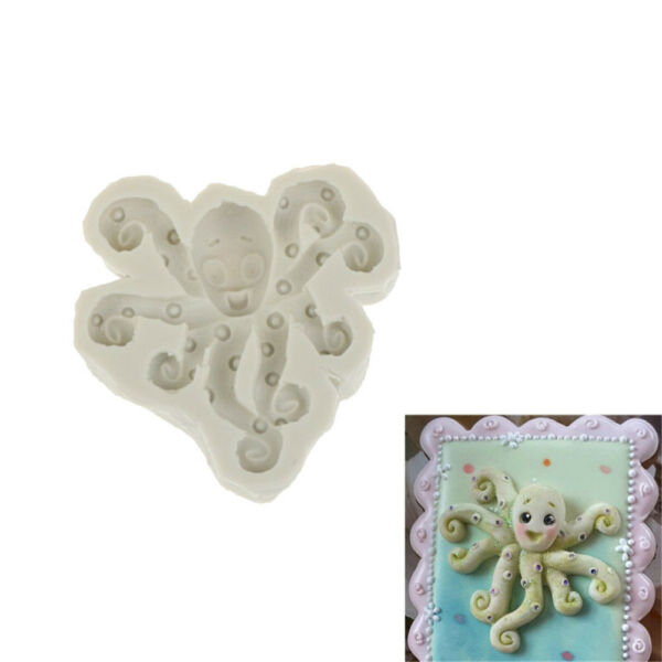 Octopus Silicone Fondant Mold Cake Decorating Tool Chocolate Gumpaste Mould FE