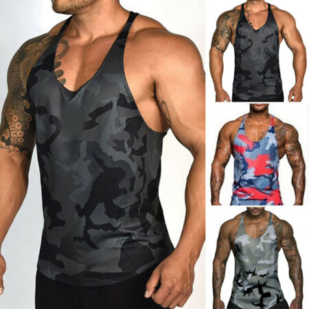 img-Men's Tank Top For Bodybuilding And Fitness - Sports Gym T-Shirts Tops Vest