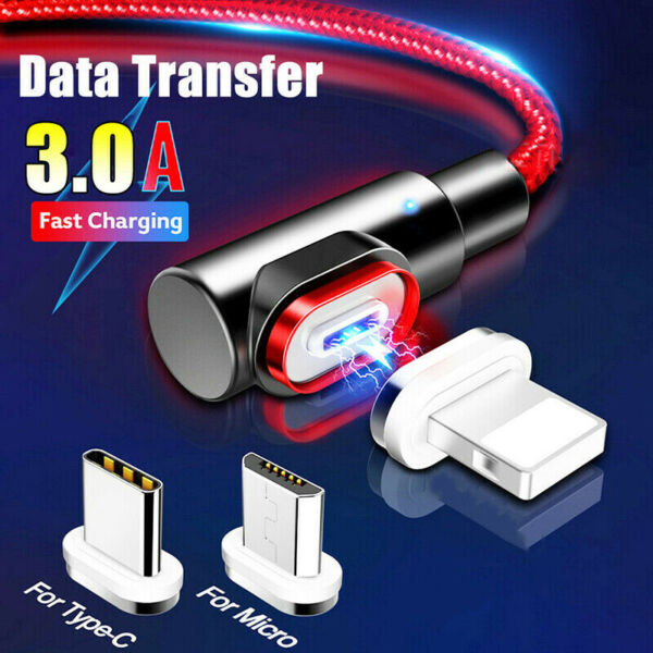 Magnetic Type C Micro USB 3A Fast Charging Charger Data Cable For iPhone Samsung