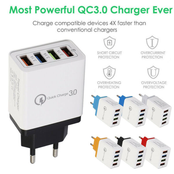 4 Port Fast Quick Charge QC 3.0 USB Hub Wall Charger 3.5A Power Adapter EU Plug
