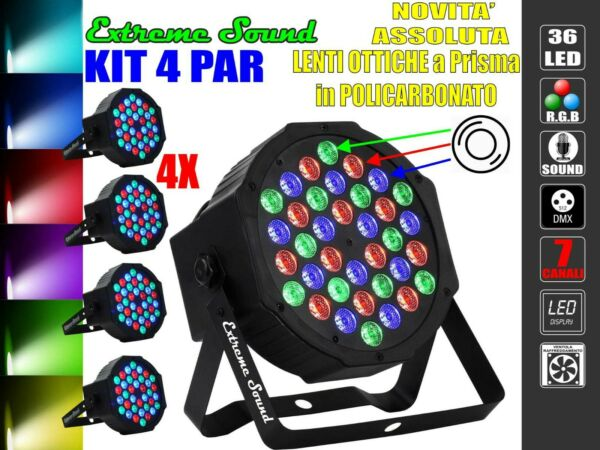 4 PAR LED 36 x 3Watt EXTREME SOUND ALTA LUMINOSITA DMX STROBO WASH PROGRAMMABILE