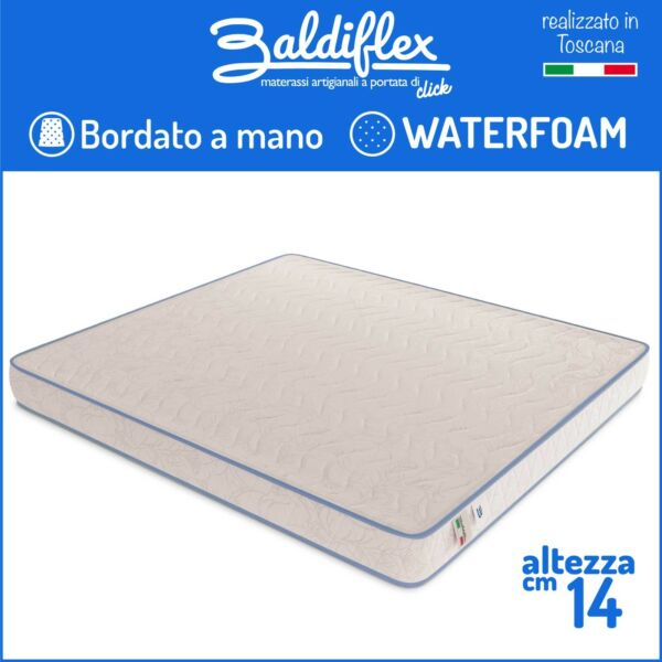 MATERASSO ORTOPEDICO SINGOLO 80x190 WATERFOAM POLIURETANO H 14 CM BASIC