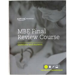 Kaplan MBE Final Review Course Questions and Answers 2014 Paperback 2014