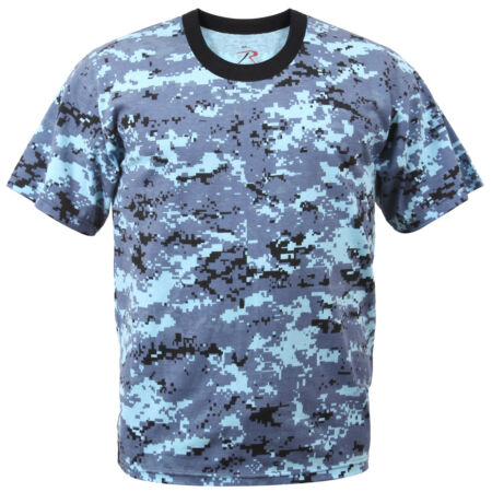 img-Blue Camo T-shirt Sky Blue Digital Camouflage Cotton Polyester Blend Rothco 8947