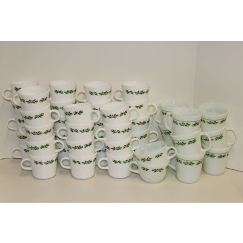 Corelle Pyrex Pyroceram Holly Days by Corning; Platter Plate Mug Cup Saucer