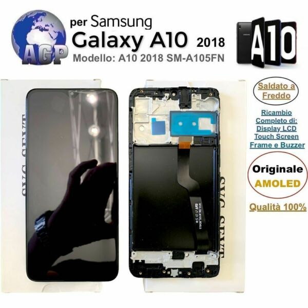 Display LCD Touch Screen Frame Samsung Galaxy A10 2018 SM-A105FN Nero ORIGINALE