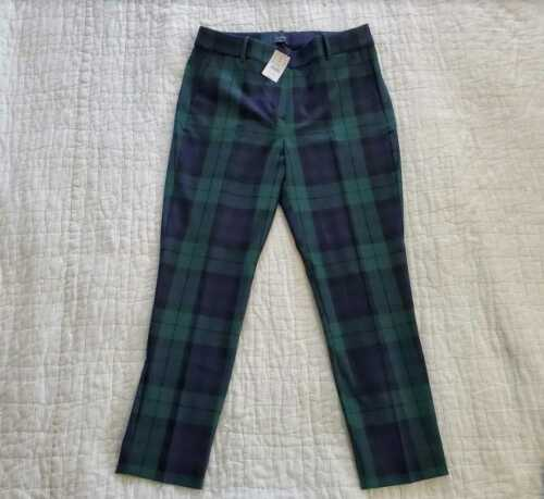NEW WOMEN'S J CREW FACTORY SLIM CROPPED BLACK WATCH PLAID RUBY PANT IN STRETCH