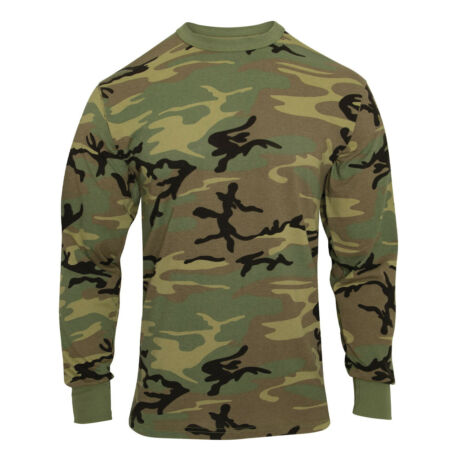 img-LS T-shirt Woodland Camo Vintage Look Long Sleeve Cotton Poly Blend Rothco 3733