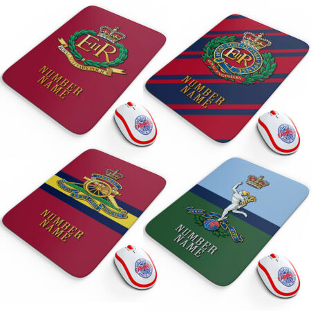 img-Military Cap Badge Mouse Mat Work Computer PC Personalised Retirement Army Gift