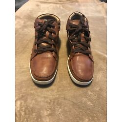 ALDO Brown Leather HI TOPS Sneakers BASKETBALL Athletic Shoes Mens Size 10.5 #
