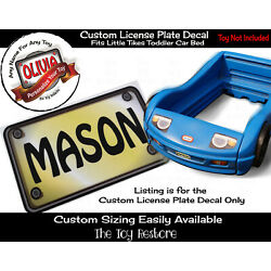 Toy Restore Custom License Plate Decal Sticker Fits Little Tikes Toddler Car Bed