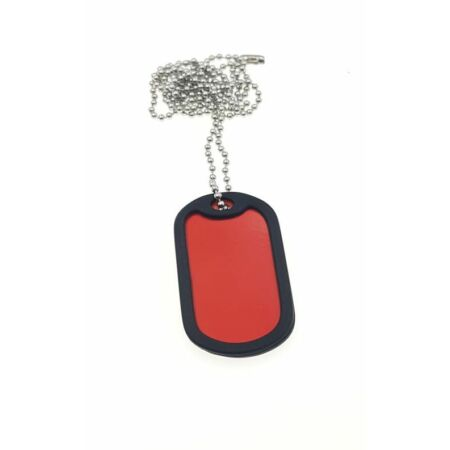 img-1 x Military Dog Tags in RED with 1 x Chain, Army ID Tag, Necklace Soldier