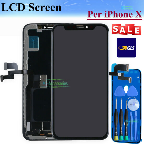 DISPLAY LCD Per iPhone X 10 Touch Schermo Screen OLED NERO Frame Replacement GLS