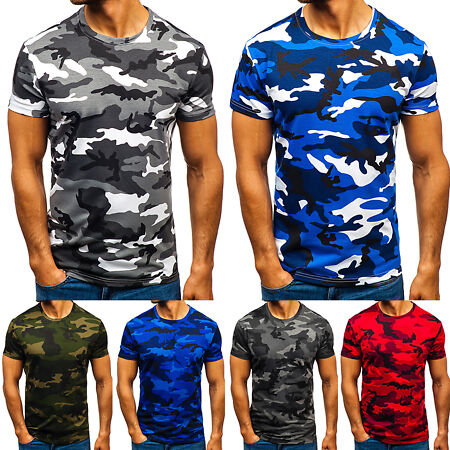 img-Mens Short Sleeve Camouflage Camo Military T-Shirt Slim Casual Army Combat Tops