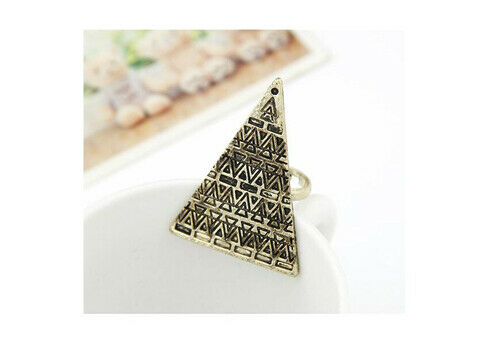 Vintage Big Triangle Geometric Egypt Pyramid Ring Adjustable Opening Finger Ring