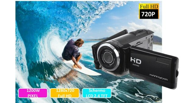VIDEOCAMERA FOTOCAMERA DIGITALE FULL HD HANDYCAM 12 MEGAPIXEL CON SD 4GB INCLUSA