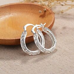 Kyпить 925 Sterling Silver Filigree Round Oval Unique Hoop Earrings на еВаy.соm