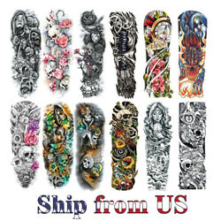 Temporary Tattoo Stickers Waterproof Full Arm Body Art Fake Colorful Tattoos US