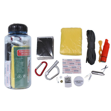 img-Survival Kit Clear Plastic Water Bottle With Survival Essentials Bug Out 52720
