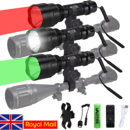 img-8000LM LED Lamp Picatinny Mount Gun Light Lamping Hunting Air Rifle Torch Kit UK