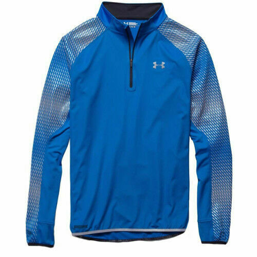 Royaume-UniUnder Armour 1/4 Zip Mens Long Sleeved Running Windstopper Blue 1259665 405 A5B