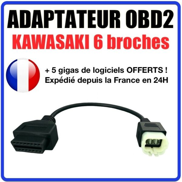 France diagnostic CABLE OBD2 6 broches VERS 16 pins - Pour Kawasaki