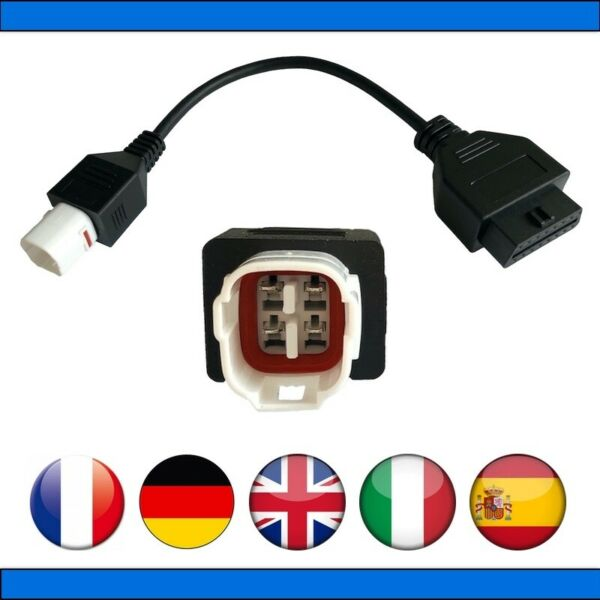 France diagnostic CABLE OBD2 4 broches VERS 16 pins - Pour YAMAHA