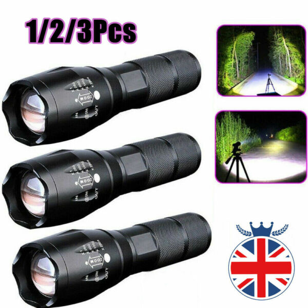 FrancePolice 90000LM T6 LED Lampe poche zoom super  Lampe camping puissante SH