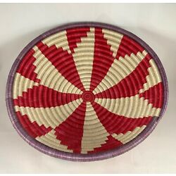 Hand Woven Shallow Bowl Basket Wall Hanging Red White 11.5  Diameter