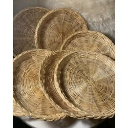 Lot Of 7 Wicker Baskets Circle Trays Plate Holders Wall Decor Kitchen Vintage