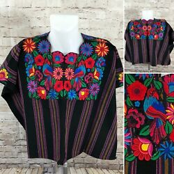 Guatemala Huipil Black Red Purple Striped Blue Bird Floral Embroidered Poncho